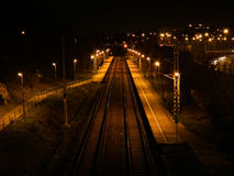 Railway station at night Stock Photo