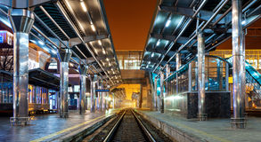 Railway station at night Royalty Free Stock Photo
