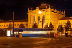 Railway station at night stock photography