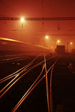 Railway station in the night Royalty Free Stock Photo