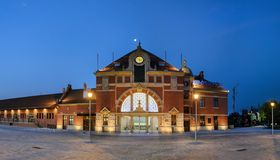 Railway station on the night in Opole Stock Photo