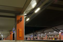 At the railway station... Night photo at  the Krakow main railway station Krakow, Poland Stock Image