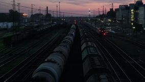 Railway station at a night in Russia. Railway station at a night stock video footage