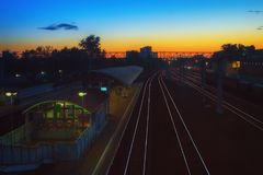 Railway Station At Night Stock Images