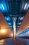 Railway station at night. Train platform in fog. Railroad Stock Image