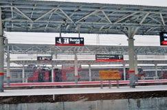 A railway station of Nizhny Novgorod, Russia, at snowstorm royalty free stock image