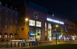Railway station. In odense from a night view Stock Images