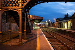 Railway Station and Old bridge  at night Stock Photography