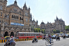 Railway station old building in Mumbai Stock Images