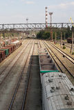 Railway station. Old cargo train. Stock Images