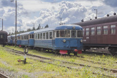 Railway station. Old trains at the railway station in Central Finland royalty free stock image
