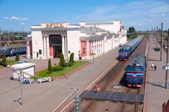 Orsha, Belarus - June 8, 2014: Railway station on sunny summer day Royalty Free Stock Photos