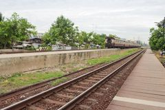 Railway on station, outdoor landscape Royalty Free Stock Image