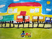 Railway station - painted by child Stock Photos