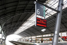 Railway station with panel information Royalty Free Stock Photos