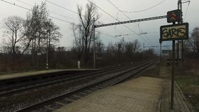 Railway station without passengers stock footage