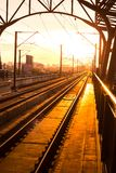 Railway station at platform in the evening Stock Photos