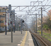 Railway station platform Stock Photos