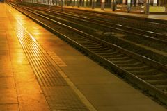 Railway Station At Night Royalty Free Stock Image