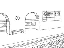 Railway station platform train graphic black white sketch illustration Royalty Free Stock Photography