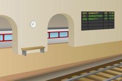 Railway station platform train illustration Stock Photography