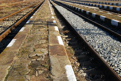 Railway station platforms ,lines Stock Photo
