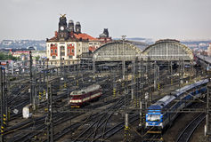 Railway station, Prague. PRAGUE, CZECH REPUBLIC - JUNE 11, 2014: Railway lines and intersections of Praha Hlavni Nadrazi, main biggest and busiest train station Royalty Free Stock Photography