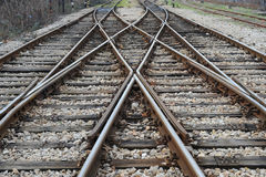 Railway on station. (railroad crossing Royalty Free Stock Photos