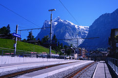 Railway Station in the Resort of Grindelwald (Switzerland) Royalty Free Stock Photo