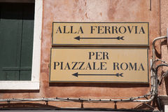 Railway Station and Rome Square Signs, Venice Stock Image