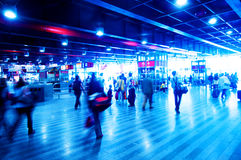 Railway station rush. People motion blur Stock Images