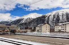 Railway station in Samedan, Switzerland. Samedan, Switzerland - 3 March, 2017: the Samedan railway station. Samedan is a town and municipality in the Maloja Royalty Free Stock Images