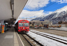 Railway station in Samedan, Switzerland. Samedan, Switzerland - 3 March, 2017: the Samedan railway station. Samedan is a town and municipality in the Maloja Stock Images