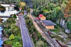 A railway station on the shore river Brazo Mayor flowing into the Cantabrian sea in San Vicente de la Barquera Stock Photos