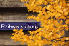 Railway station sign Royalty Free Stock Image