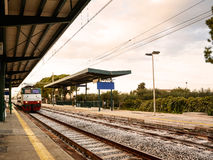 Railway station of a small Italian town Royalty Free Stock Images