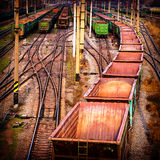 Railway station. Sorting industrial railway station wagons and compositions Stock Photos