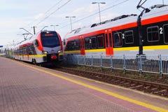 Railway Station - Station Lodz Kaliska - Train carrying passengers Royalty Free Stock Images