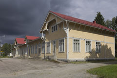 Railway station. Storm clouds in the railway station in central Finland stock photos