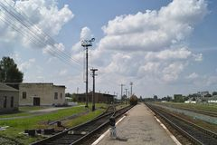 Railway station in summer day Stock Image