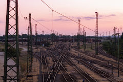 Railway station. On a summer evening,Hungary Royalty Free Stock Image