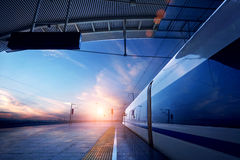 Railway station with sunset Royalty Free Stock Photos