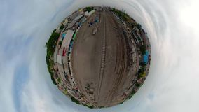 Railway station in Surabaya Indonesia. Little planet view railway station in an asian city among buildings. Surabaya Indonesia stock video