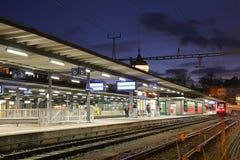 Railway station in Switzerland Stock Photography