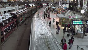 Railway station terminal in big city stock video