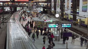 Railway station terminal in big city stock footage