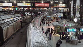 Railway station terminal in big city stock video footage