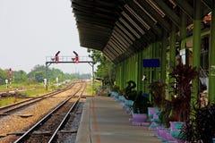 Railway station in Thailand. Platform on railway station, Thailand Stock Photos