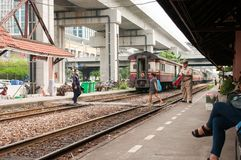 Railway Station in Thailand. Most people in Thailand use the train to go to various places. Because the cost is not high. Including tourists who want to save Royalty Free Stock Photos