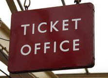 Railway Station Ticket Office Sign. Royalty Free Stock Images